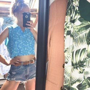 Blue Floral Cropped Polo Collared Tank Top